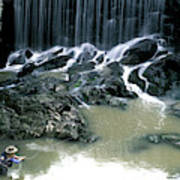 Woman Flyfishing Below Waterfall Poster