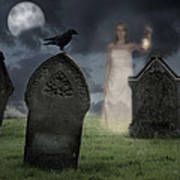 Woman Haunting Cemetery Poster