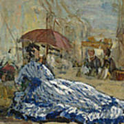 Woman In A Blue Dress Under A Parasol Poster