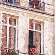 Woman In A Paris Window Poster