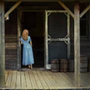 Woman In Cabin Doorway Poster