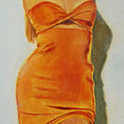 Woman In Orange Dress Poster