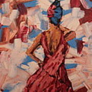 Woman In The Red Gown Poster by Lee Ann Newsom