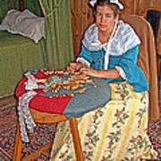 Woman Making Lace In Louisbourg Living History Museum-1744-ns Poster