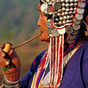 Akha Hill Tribe Woman  Thailand Poster