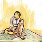 Woman Plaiting Mats In Rwanda Poster