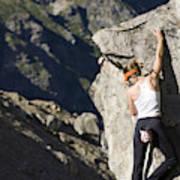 Woman Rock Climbing, India Poster