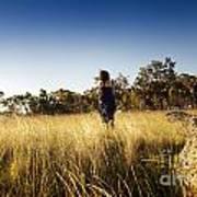 Woman Running Through Field Poster