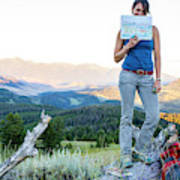 Woman Shows Off Her Mountain Drawing Poster