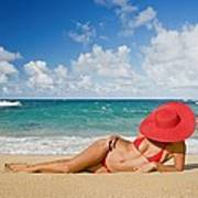 Woman Sitting On The Beach Poster