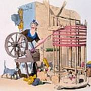 Woman Spinning Wool Onto A Rotating Poster