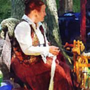 Woman Spinning Yarn At Flea Market Poster