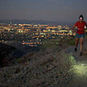 Woman Trail Running In South Mountain Poster