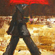Woman Under A Red Umbrella Poster