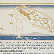 Woman Wading Through Water Poster by Georges Barbier