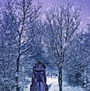 Woman Walking In Snow Poster by Amanda Elwell