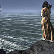 Woman Watching A Ship Sailing Away Poster