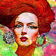 Woman With Earring Poster by Chuck Staley