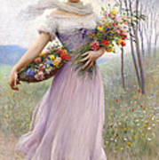 Woman With Flowers Poster