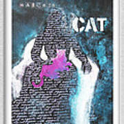 Woman With Magenta Cat Poster by Eve Riser Roberts