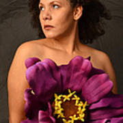Woman With Purple Flower Poster by Timothy OLeary
