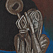 Woman With Trumpet Poster