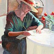 Woman Writing Poster