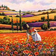 Women Gathering Poppies In Tuscan Poster