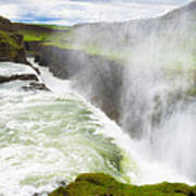 Wonderful Waterfall Gullfoss In South Iceland Poster