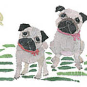 Pug Art Hand-torn Newspaper Collage Art By Keiko Suzuki Bless Hue Poster