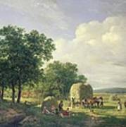 Wooded Landscape With Haymakers Poster