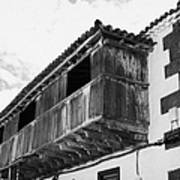 wooden balcony on ancient stucco covered traditional flat roofed house in tacoronte Tenerife Canary Islands Spain Poster