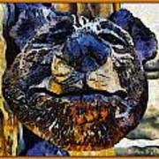 Wooden Bear Sculpture Poster by Barbara Snyder