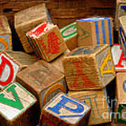 Wooden Blocks With Alphabet Letters Poster by Amy Cicconi