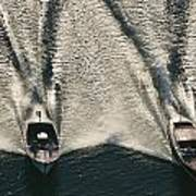 Wooden Boat Aerial Poster