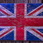 Wooden British Flag Poster