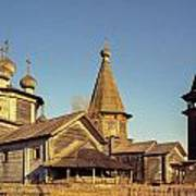 Wooden Church Complex. Old Film Camera. Poster