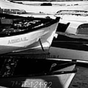wooden colourful fishing boats and dinghys sitting on the beach at las teresitas Tenerife Canary Islands Spain Poster