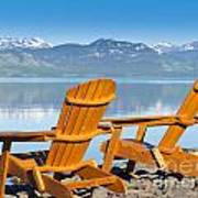 Wooden Deckchairs Overlooking Scenic Lake Laberge Poster