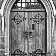 Wooden Door At Tower Hill Bw Poster by Christi Kraft