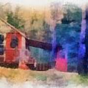 Wooden Fishing Hunting Cabin Photo Art Poster