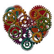 Wooden Gears Forming Heart Shape Illustration Poster