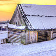 Wooden Hut In Sunset Poster