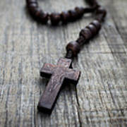 Wooden Rosary Poster by Aged Pixel