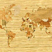 Wooden World Map 2 Poster