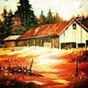 Woodland Barn In Autumn Poster