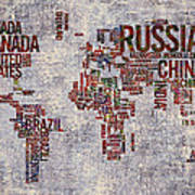 World Map Typography Artwork Poster