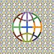 World Globe Earth Travel Graphic Digital Colorful Pattern Signature Art  Navinjoshi Artist Created I Poster