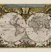 World Map 1664 Ad With Small Matching Border Poster