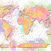 World Map 2 Digital Watercolor Painting Poster